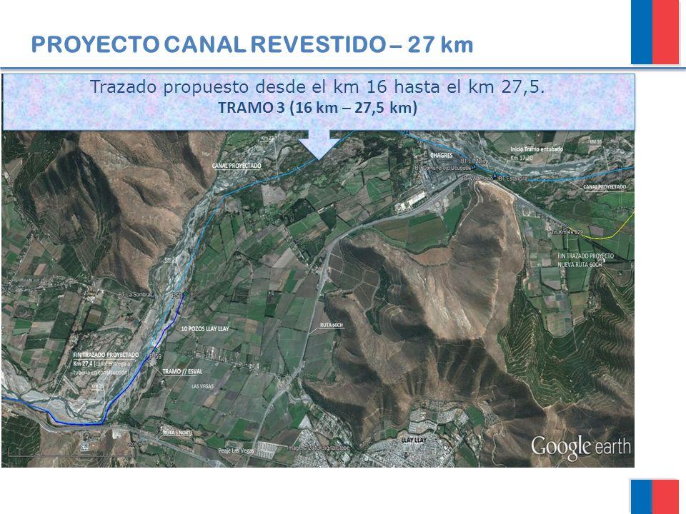 PROYECTO CANAL REVESTIDO – 27 km Trazado propuesto desde el km 16 hasta el km 27,5. TRAMO 3 (16 km – 27,5 km) Trazado propuesto desde el km 16 hasta e