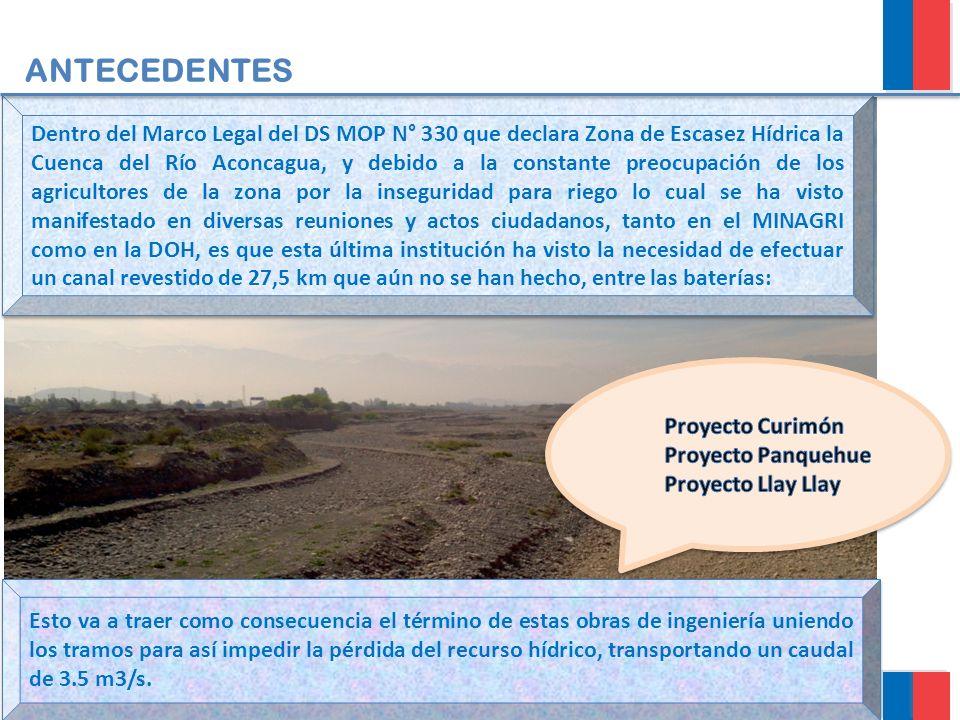 ANTECEDENTES Dentro del Marco Legal del DS MOP N° 330 que declara Zona de Escasez Hídrica la Cuenca del Río Aconcagua, y debido a la constante preocup