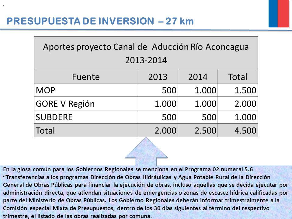 PRESUPUESTA DE INVERSION – 27 km En la glosa común para los Gobiernos Regionales se menciona en el Programa 02 numeral 5.6 Transferencias a los progra
