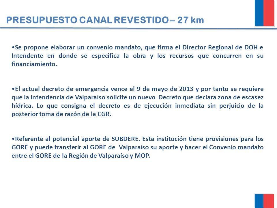 PRESUPUESTO CANAL REVESTIDO – 27 km Se propone elaborar un convenio mandato, que firma el Director Regional de DOH e Intendente en donde se especifica