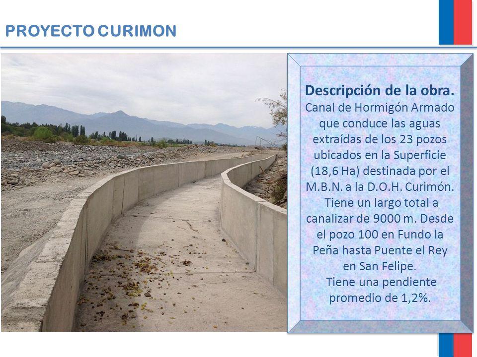PROYECTO CURIMON Descripción de la obra. Canal de Hormigón Armado que conduce las aguas extraídas de los 23 pozos ubicados en la Superficie (18,6 Ha)