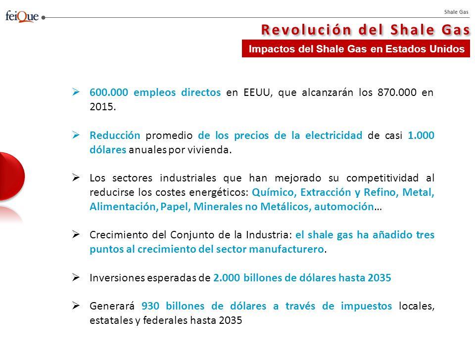 Shale Gas Revolución del Shale Gas Impactos del Shale Gas en Estados Unidos 600.000 empleos directos en EEUU, que alcanzarán los 870.000 en 2015.