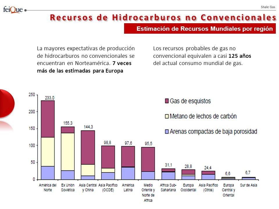 Shale Gas La Revolución del Shale Gas La mayor parte de la producción actual de Shale gas está localizada en Estados Unidos (75% del total) y en Canadá La producción del gas no convencional en EEUU supone un 47% del total del gas en EEUU.
