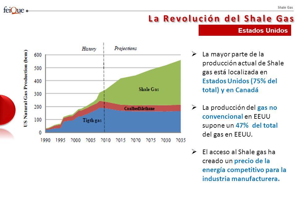 Shale Gas La Revolución del Shale Gas Este suplemento a la producción de gas, combinado con la debilidad de la crisis económica, ha contribuido a la caída de los precio de gas en EEUU hasta 5$/mmBtu en 2009 y 3 $/mmBtu en 2011 y 2012 La paridad energética de los precios del gas y el petróleo se ha roto desde enero de 2009.
