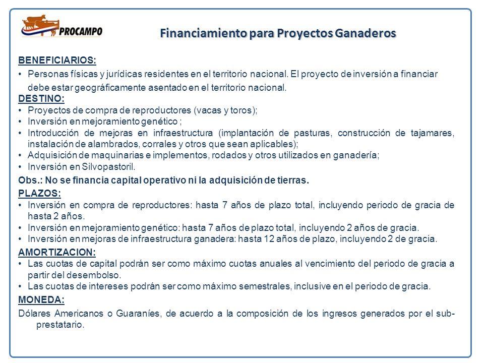 Financiamiento para Proyectos Ganaderos BENEFICIARIOS: Personas físicas y jurídicas residentes en el territorio nacional.