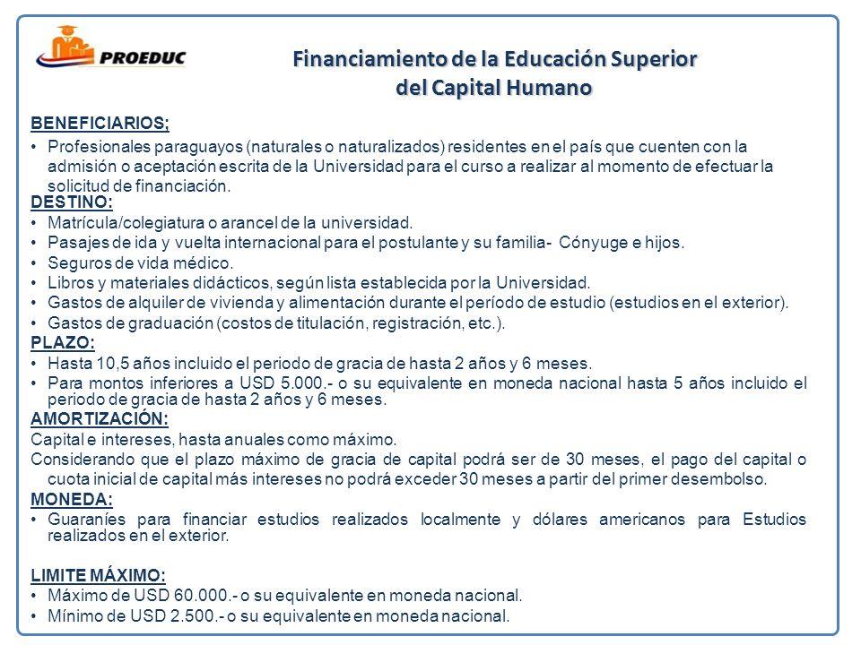 Financiamiento de la Educación Superior del Capital Humano BENEFICIARIOS; Profesionales paraguayos (naturales o naturalizados) residentes en el país que cuenten con la admisión o aceptación escrita de la Universidad para el curso a realizar al momento de efectuar la solicitud de financiación.