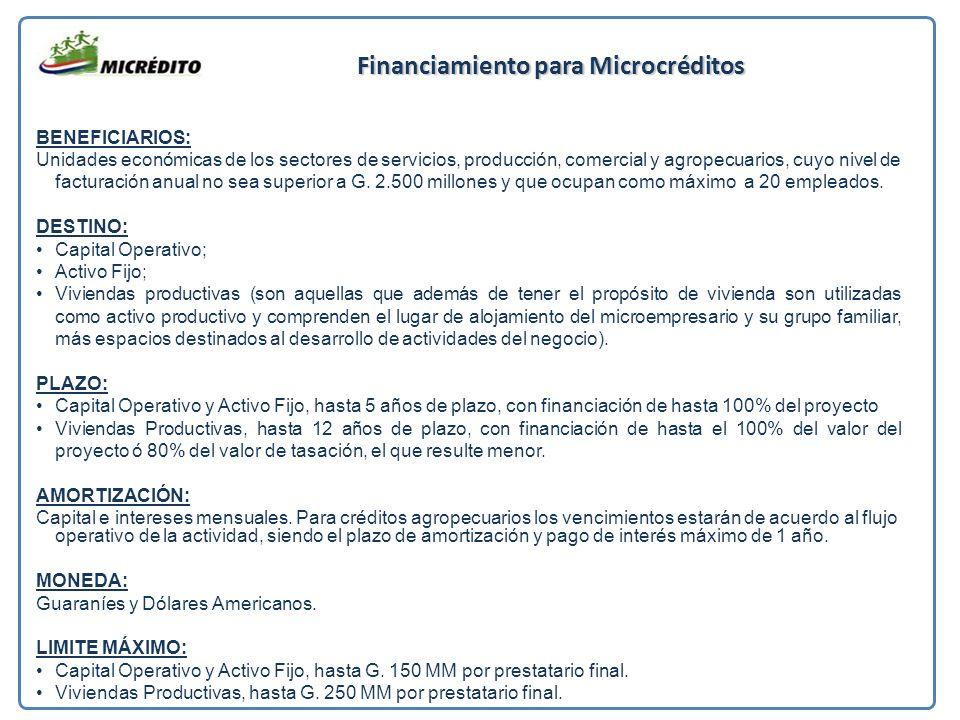 Financiamiento para Microcréditos BENEFICIARIOS: Unidades económicas de los sectores de servicios, producción, comercial y agropecuarios, cuyo nivel de facturación anual no sea superior a G.
