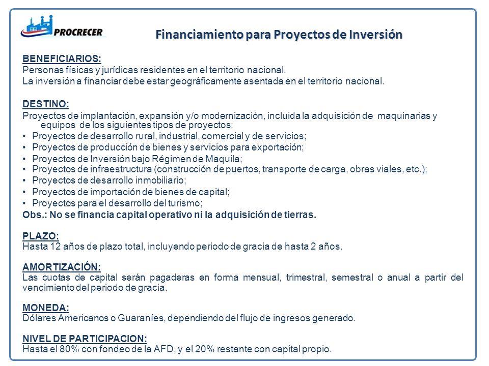 Financiamiento para Proyectos de Inversión BENEFICIARIOS: Personas físicas y jurídicas residentes en el territorio nacional.