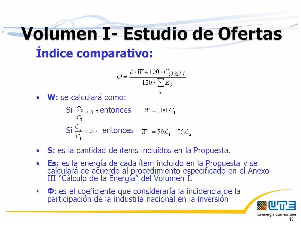 Índice comparativo: W: se calculará como: Si entonces S: es la cantidad de ítems incluidos en la Propuesta.