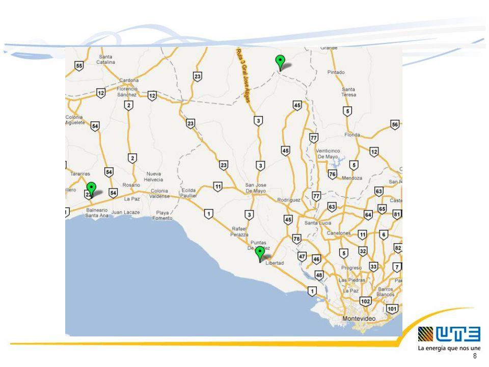 Información brindada por UTE: Datos de viento medidos Datos de viento en un punto de referencia para el cual se deberá calcular la curva de potencia de la Central (Viento comparativo) Punto de conexión a la red a partir del cual las obras están a cargo de UTE 9