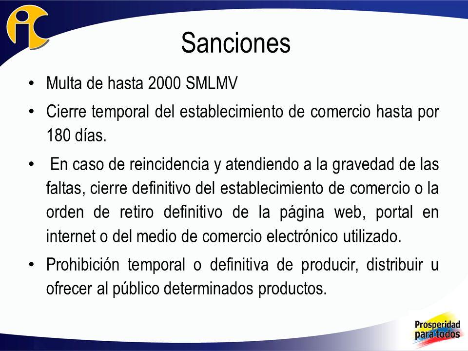 Sanciones Multa de hasta 2000 SMLMV Cierre temporal del establecimiento de comercio hasta por 180 días. En caso de reincidencia y atendiendo a la grav
