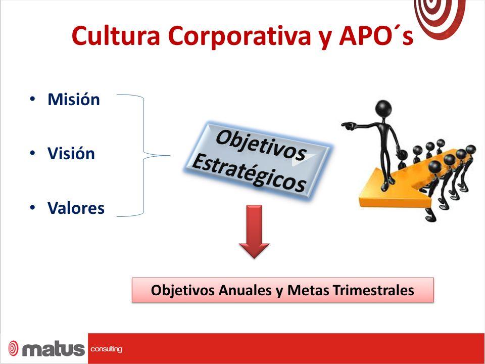 Cultura Corporativa y APO´s Misión Visión Valores Objetivos Anuales y Metas Trimestrales