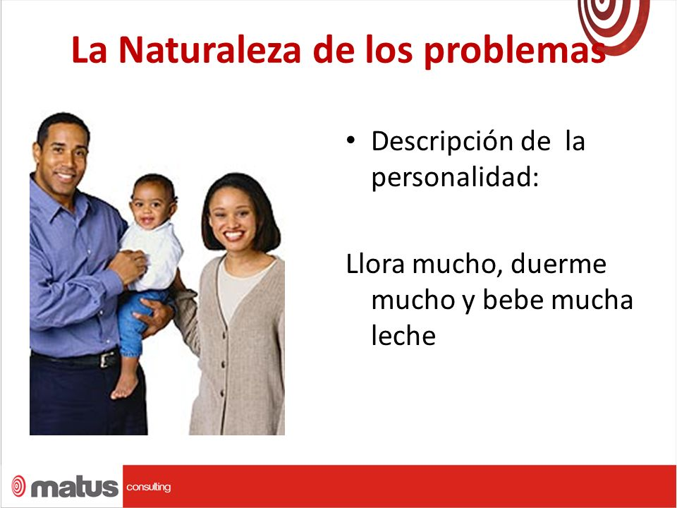 La Naturaleza de los problemas Descripción de la personalidad: Llora mucho, duerme mucho y bebe mucha leche