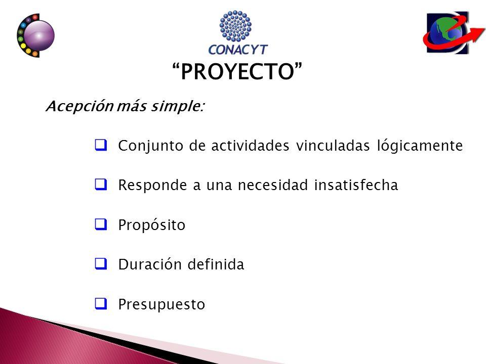 Acepción más simple: Conjunto de actividades vinculadas lógicamente Responde a una necesidad insatisfecha Propósito Duración definida Presupuesto PROYECTO