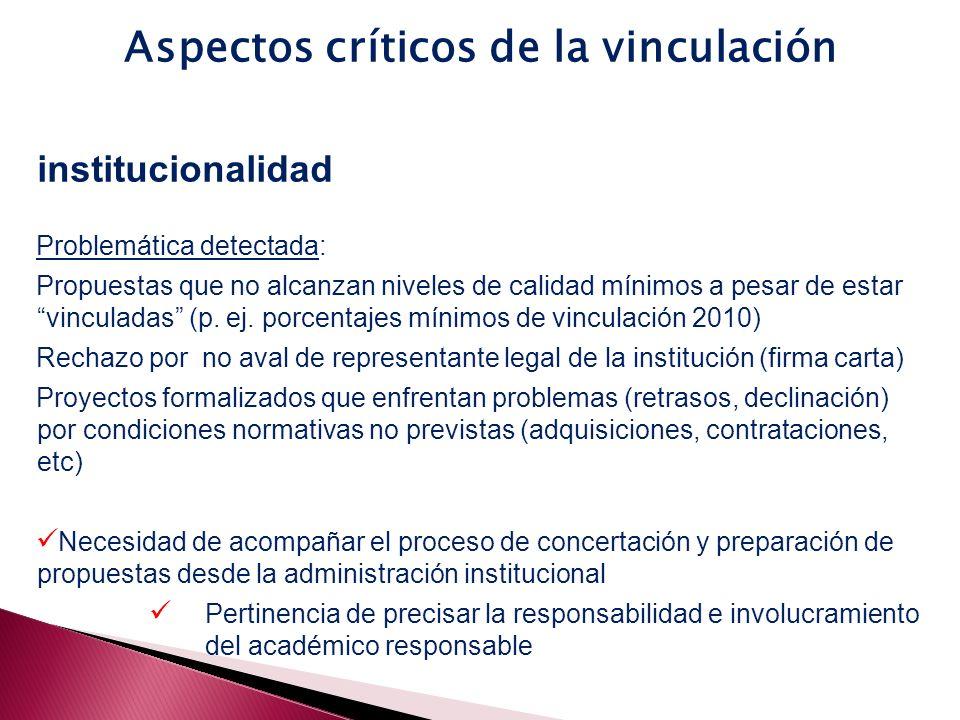 institucionalidad Problemática detectada: Propuestas que no alcanzan niveles de calidad mínimos a pesar de estar vinculadas (p.