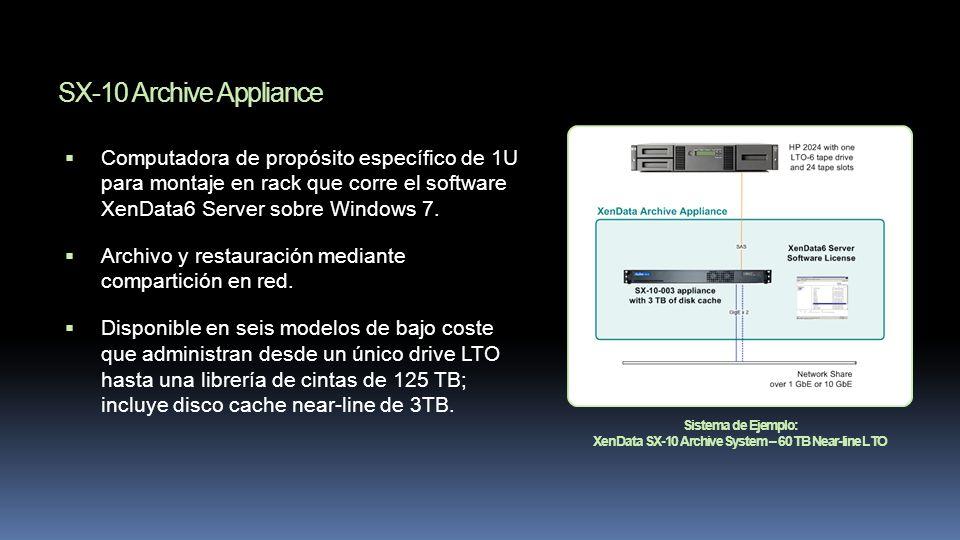 Sistema de Ejemplo: XenData SX-10 Archive System – 60 TB Near-line LTO SX-10 Archive Appliance Computadora de propósito específico de 1U para montaje en rack que corre el software XenData6 Server sobre Windows 7.
