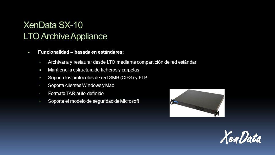 XenData SX-10 LTO Archive Appliance Funcionalidad – basada en estándares: Archivar a y restaurar desde LTO mediante compartición de red estándar Mantiene la estructura de ficheros y carpetas Soporta los protocolos de red SMB (CIFS) y FTP Soporta clientes Windows y Mac Formato TAR auto-definido Soporta el modelo de seguridad de Microsoft
