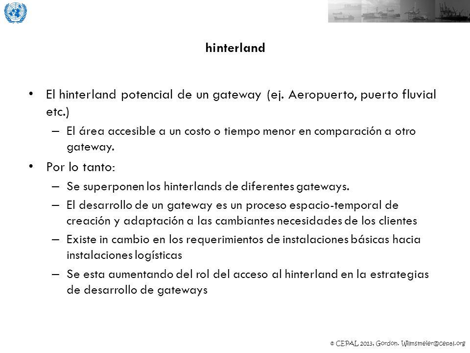 © CEPAL 2013, Gordon. Wilmsmeier@cepal.org hinterland El hinterland potencial de un gateway (ej. Aeropuerto, puerto fluvial etc.) – El área accesible