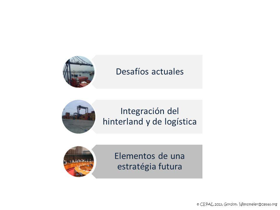 © CEPAL 2013, Gordon. Wilmsmeier@cepal.org Desafíos actuales Integración del hinterland y de logística Elementos de una estratégia futura