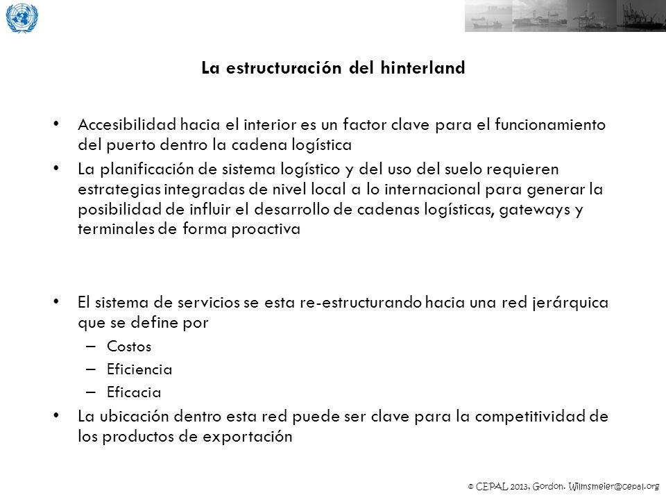 © CEPAL 2013, Gordon. Wilmsmeier@cepal.org La estructuración del hinterland Accesibilidad hacia el interior es un factor clave para el funcionamiento