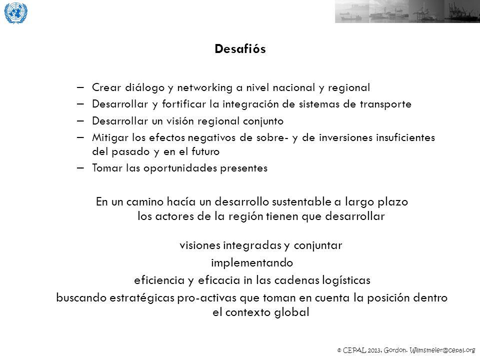 © CEPAL 2013, Gordon. Wilmsmeier@cepal.org Desafiós – Crear diálogo y networking a nivel nacional y regional – Desarrollar y fortificar la integración