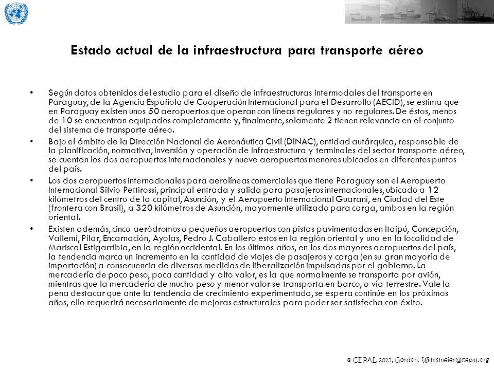© CEPAL 2013, Gordon. Wilmsmeier@cepal.org Estado actual de la infraestructura para transporte aéreo Según datos obtenidos del estudio para el diseño