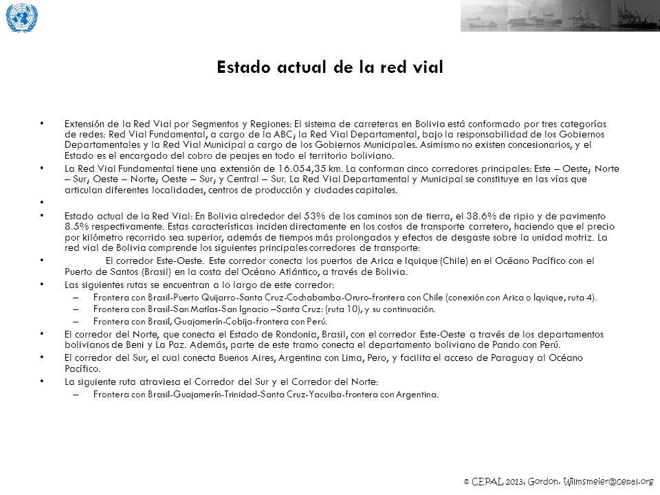 © CEPAL 2013, Gordon. Wilmsmeier@cepal.org Estado actual de la red vial Extensión de la Red Vial por Segmentos y Regiones: El sistema de carreteras en