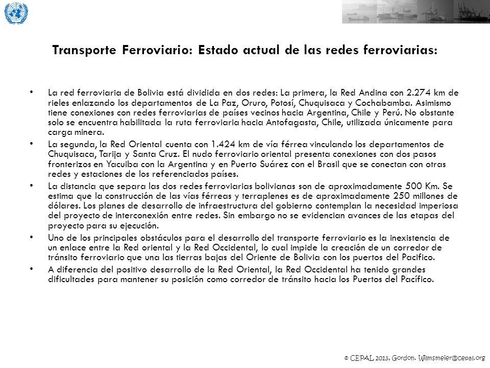 © CEPAL 2013, Gordon. Wilmsmeier@cepal.org Transporte Ferroviario: Estado actual de las redes ferroviarias: La red ferroviaria de Bolivia está dividid