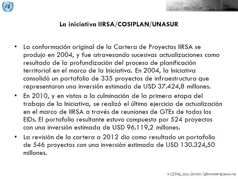 © CEPAL 2013, Gordon. Wilmsmeier@cepal.org La iniciativa IIRSA/COSIPLAN/UNASUR La conformación original de la Cartera de Proyectos IIRSA se produjo en