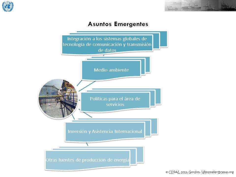 © CEPAL 2013, Gordon. Wilmsmeier@cepal.org Asuntos Emergentes Integración a los sistemas globales de tecnología de comunicación y transmisión de datos