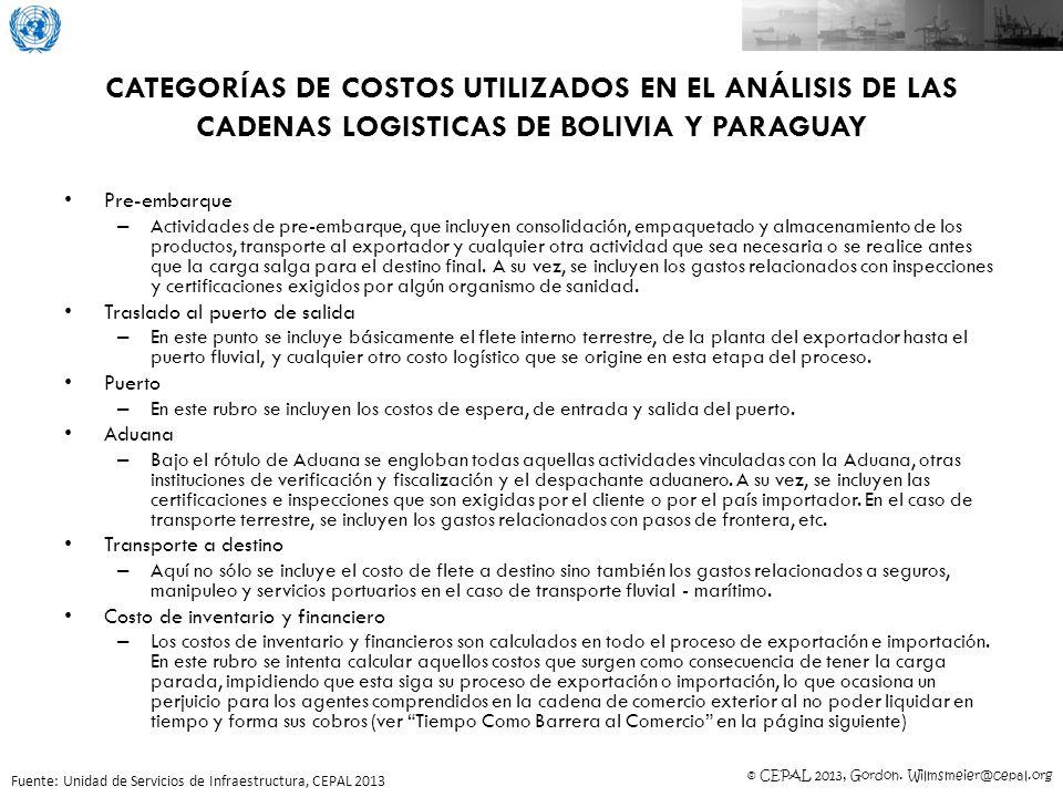 © CEPAL 2013, Gordon. Wilmsmeier@cepal.org CATEGORÍAS DE COSTOS UTILIZADOS EN EL ANÁLISIS DE LAS CADENAS LOGISTICAS DE BOLIVIA Y PARAGUAY Pre-embarque