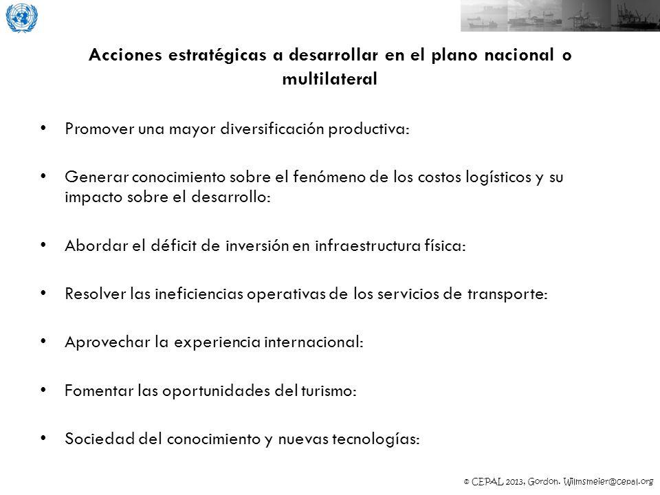 © CEPAL 2013, Gordon. Wilmsmeier@cepal.org Acciones estratégicas a desarrollar en el plano nacional o multilateral Promover una mayor diversificación