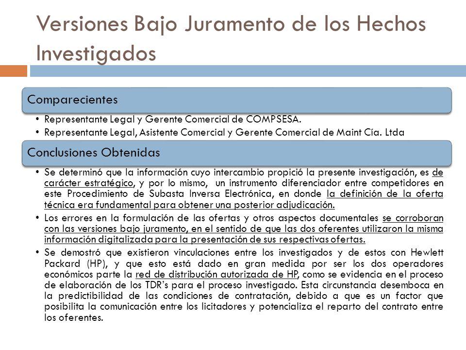 Versiones Bajo Juramento de los Hechos Investigados Investigación de oficio SUBCOMP-001-2011 Comparecientes Representante Legal y Gerente Comercial de
