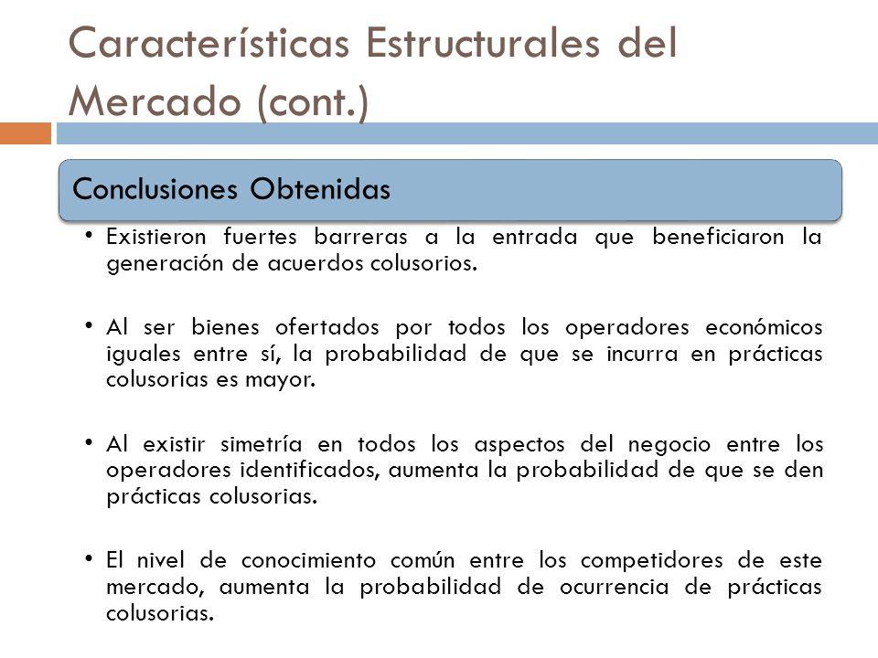 Características Estructurales del Mercado (cont.) Conclusiones Obtenidas Existieron fuertes barreras a la entrada que beneficiaron la generación de ac