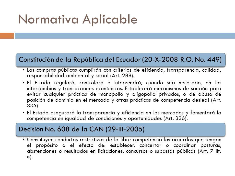 Constitución de la República del Ecuador (20-X-2008 R.O. No. 449) Las compras públicas cumplirán con criterios de eficiencia, transparencia, calidad,