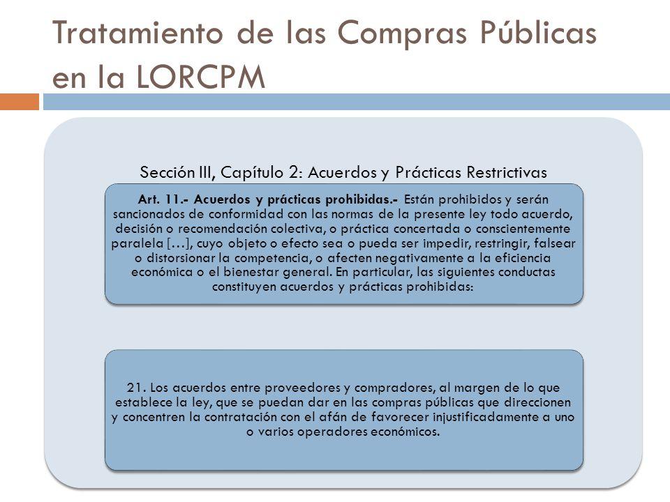 Tratamiento de las Compras Públicas en la LORCPM Sección III, Capítulo 2: Acuerdos y Prácticas Restrictivas Art. 11.- Acuerdos y prácticas prohibidas.