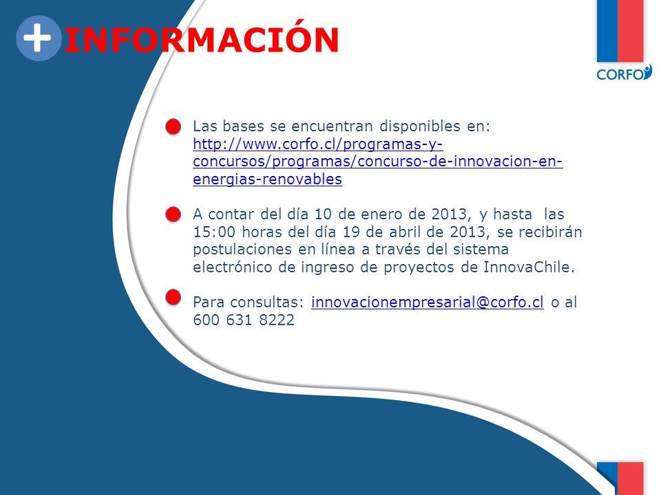 INFORMACIÓN + Las bases se encuentran disponibles en: http://www.corfo.cl/programas-y- concursos/programas/concurso-de-innovacion-en- energias-renovab