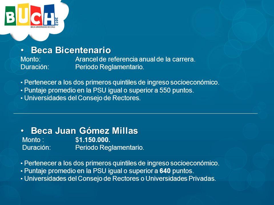 Beca BicentenarioBeca Bicentenario Monto: Arancel de referencia anual de la carrera.