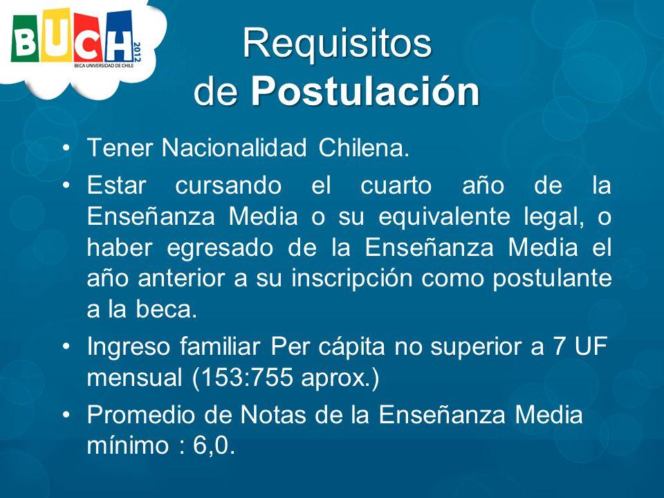 Requisitos de Postulación Tener Nacionalidad Chilena.