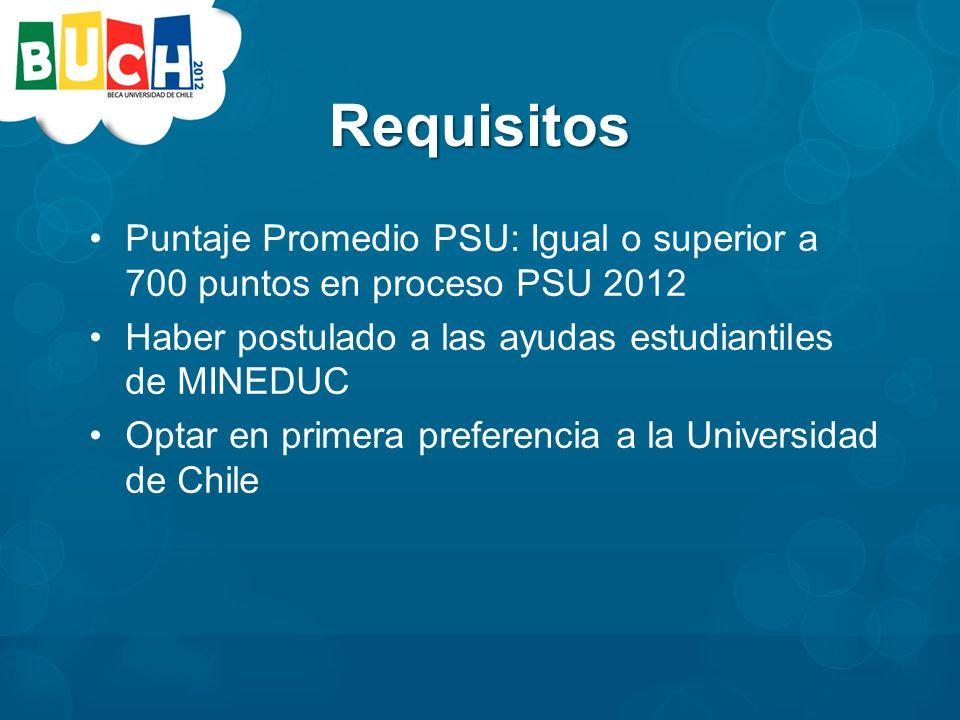 Requisitos Puntaje Promedio PSU: Igual o superior a 700 puntos en proceso PSU 2012 Haber postulado a las ayudas estudiantiles de MINEDUC Optar en primera preferencia a la Universidad de Chile
