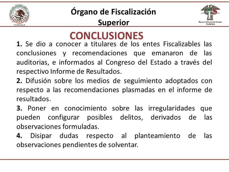 1. Se dio a conocer a titulares de los entes Fiscalizables las conclusiones y recomendaciones que emanaron de las auditorias, e informados al Congreso