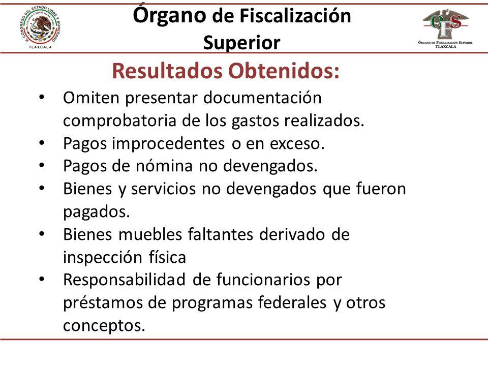 Órgano de Fiscalización Superior Resultados Obtenidos: Omiten presentar documentación comprobatoria de los gastos realizados.