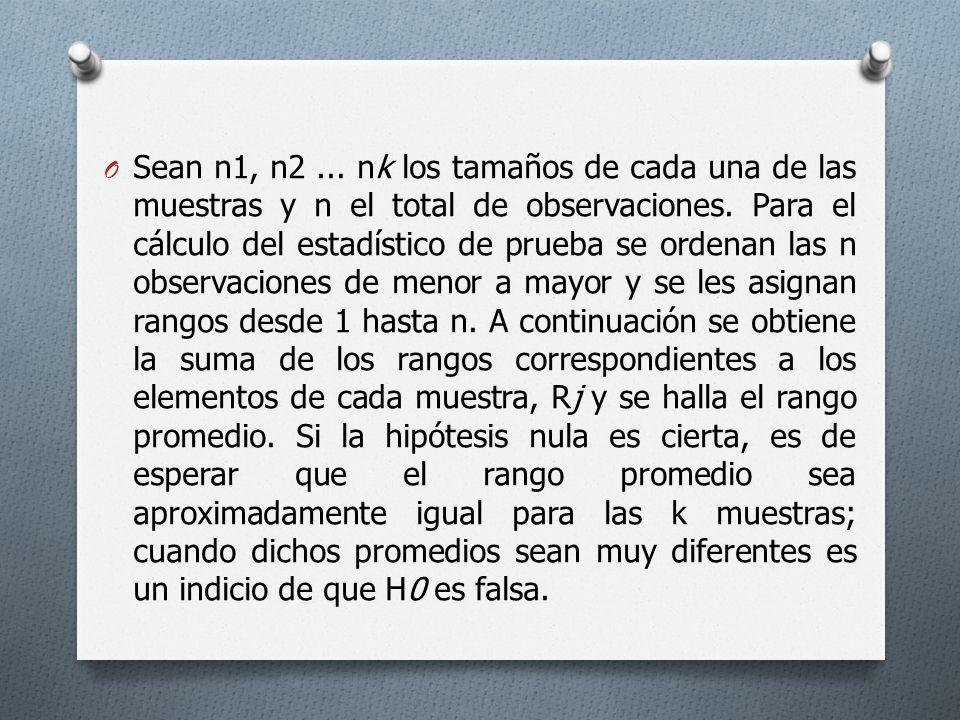 O Sean n1, n2... nk los tamaños de cada una de las muestras y n el total de observaciones. Para el cálculo del estadístico de prueba se ordenan las n