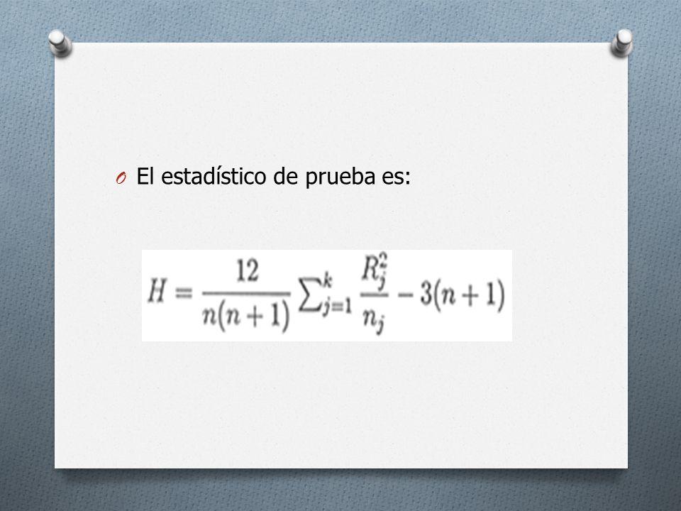 O Si H0 es cierta y los tamaños muestrales son todos mayores que 5, el estadístico H se distribuye aproximadamente como chi-cuadrado con k-1 grados de libertad.