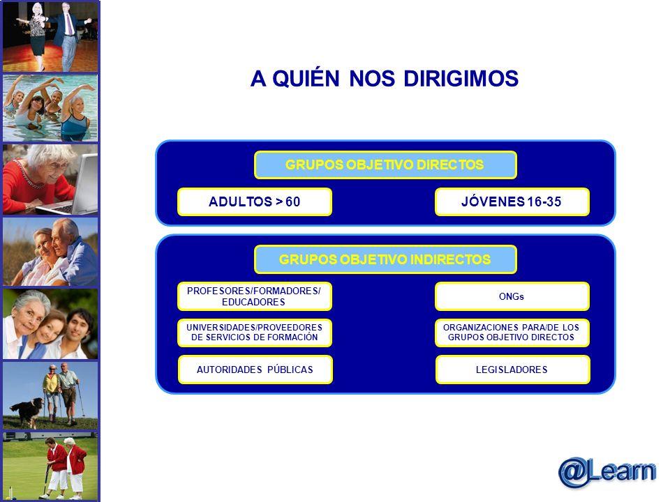 A QUIÉN NOS DIRIGIMOS GRUPOS OBJETIVO DIRECTOS ADULTOS > 60JÓVENES 16-35 GRUPOS OBJETIVO INDIRECTOS PROFESORES/FORMADORES/ EDUCADORES ONGs UNIVERSIDAD