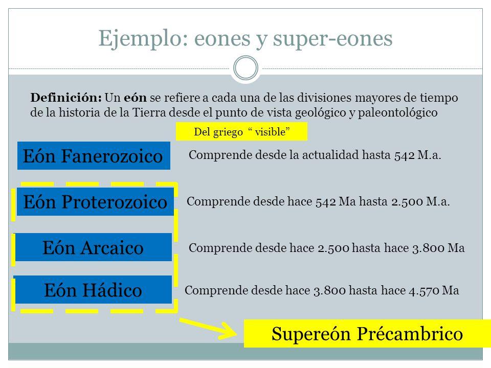 Ejemplo: eones y super-eones Eón Fanerozoico Comprende desde la actualidad hasta 542 M.a. Eón Proterozoico Comprende desde hace 542 Ma hasta 2.500 M.a