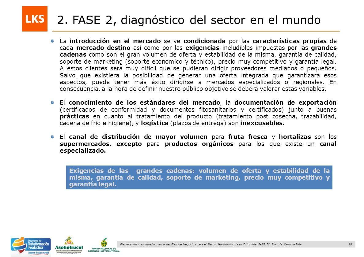 10 Elaboración y acompañamiento del Plan de Negocios para el Sector Hortofrutícola en Colombia. FASE IV. Plan de Negocio Piña 2. FASE 2, diagnóstico d