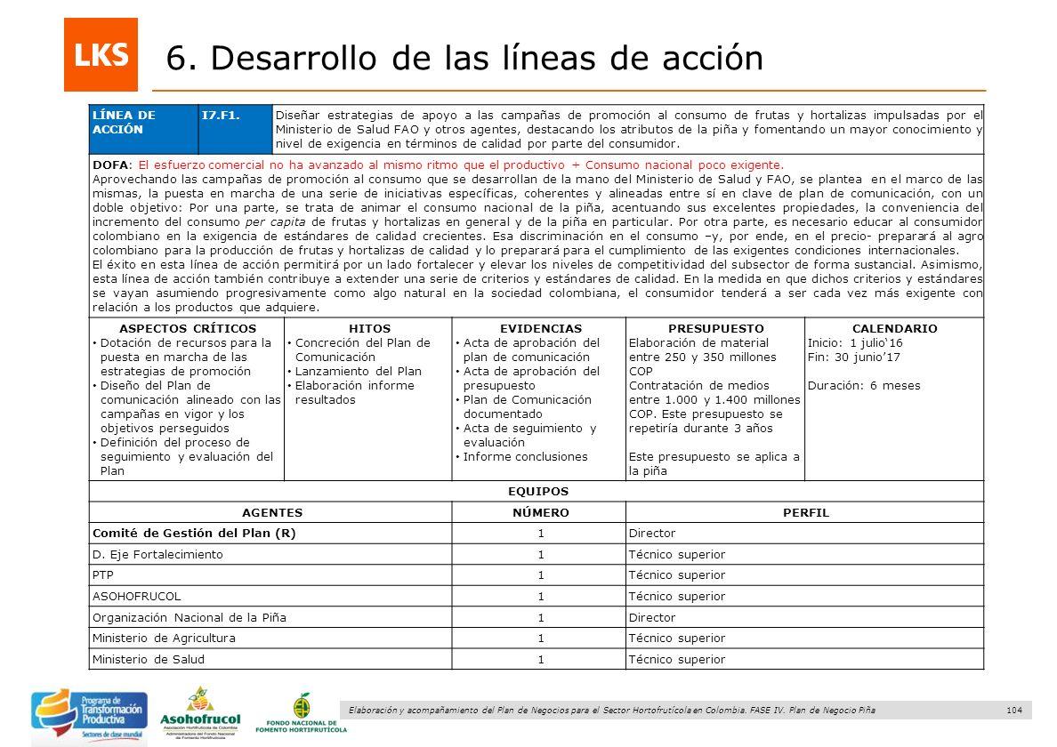 104 Elaboración y acompañamiento del Plan de Negocios para el Sector Hortofrutícola en Colombia. FASE IV. Plan de Negocio Piña 6. Desarrollo de las lí