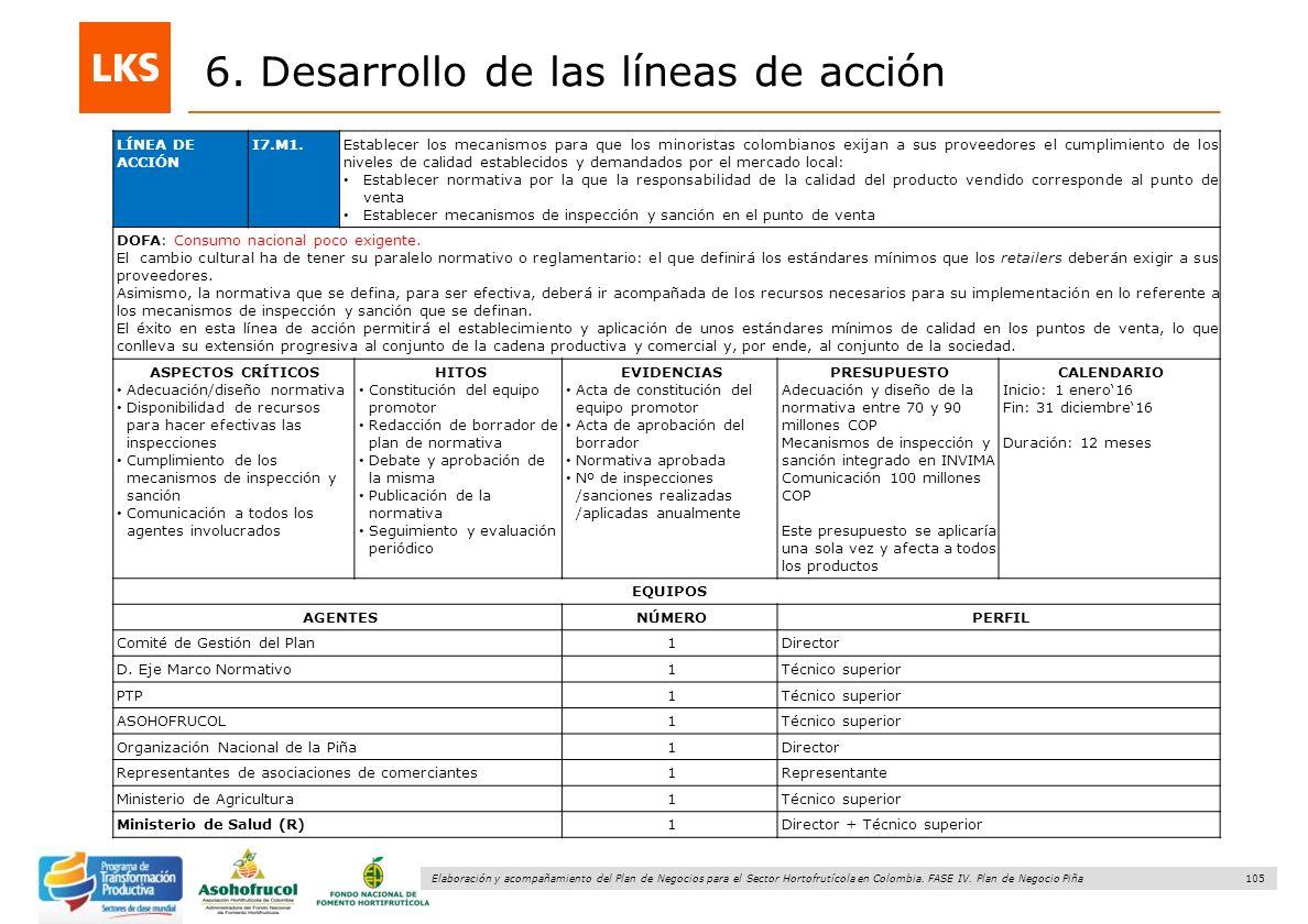 105 Elaboración y acompañamiento del Plan de Negocios para el Sector Hortofrutícola en Colombia. FASE IV. Plan de Negocio Piña 6. Desarrollo de las lí