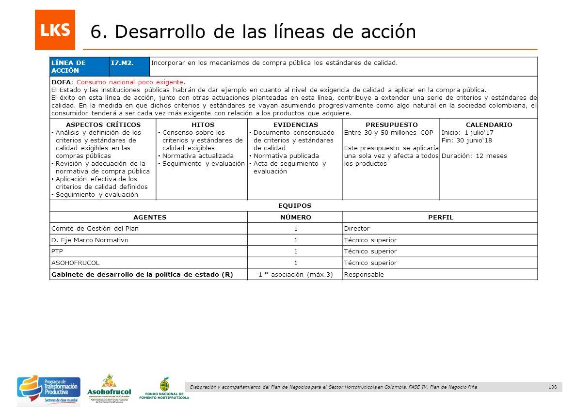 106 Elaboración y acompañamiento del Plan de Negocios para el Sector Hortofrutícola en Colombia. FASE IV. Plan de Negocio Piña 6. Desarrollo de las lí